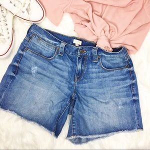 J. Crew High Waisted Distressed Denim Jean Shorts